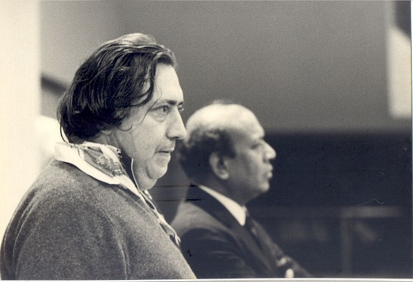Henry Langlois and B.D. Garga at the Cinematheque, 1969